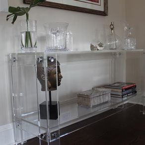 lucite acrylic console table with shelf button line hand crafted custom sizing acrylic lucite furniture