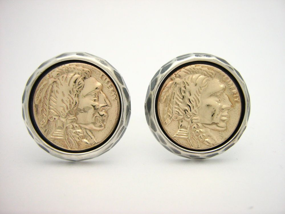 Custom Sterling Silver And Gold Native American Coin Cufflinks by ...