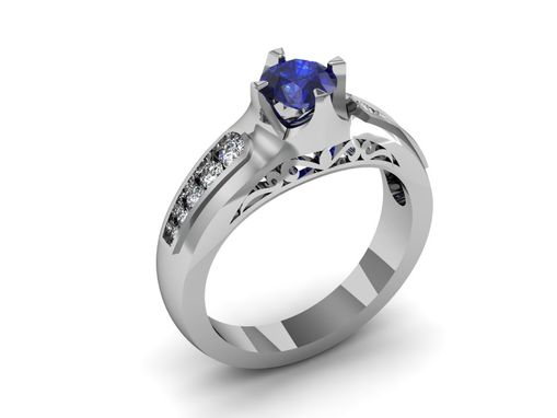 Custom Made 14 Kt White Gold Sapphire And Diamond Engagement Ring