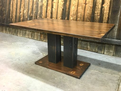 Custom Made Reclaimed Wood Two-Toned Dining Table