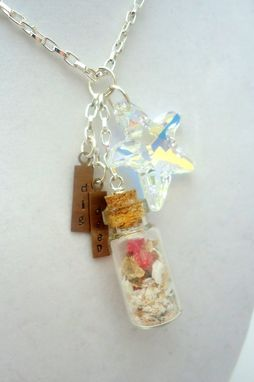 "Custom Made Swarovski Crystal Starfish Seashell Glass Vial Necklace With ""Dig Deep"" Saying, ""Soul Verbs"""