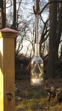 Custom Made Wine Bottle Chain Lantern: Garden Light/Candle Holder - Clear