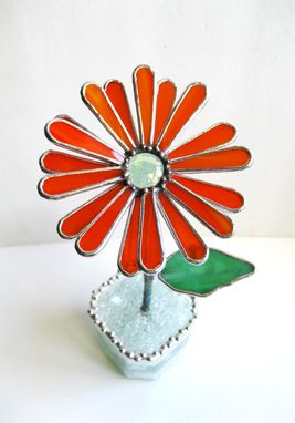 Custom Made Gerbera Daisy In Bright Orange - Stained Glass