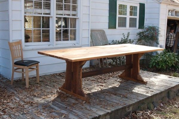 Custom heart pine dining room table by black mountain for Pine dining room table