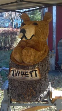 Custom Made Chainsaw Carved Cinnamin Bear In Stump With Custom Name