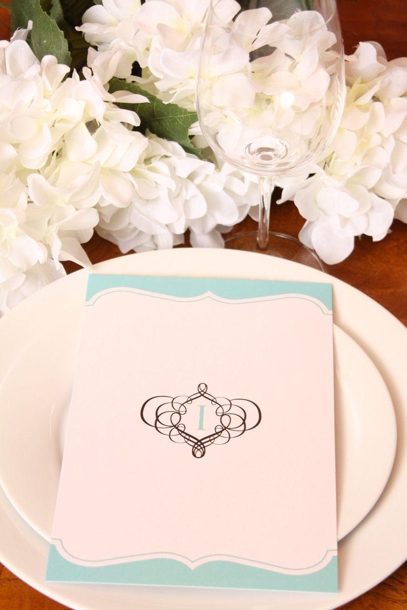 Hand Crafted Wedding Menu Elegant Reception Menu Tiffany Blue