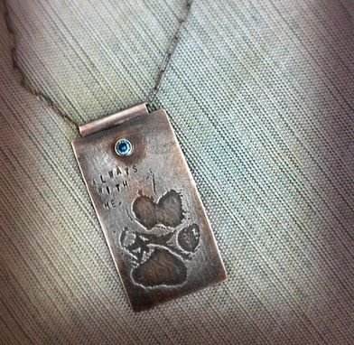 Custom Made Custom Stamped, Pet Paw Print, Sterling Silver, Choice Gemstone