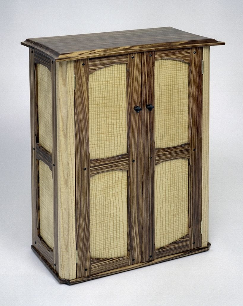 Hand Crafted Media Cabinet Of Zebra Wood Curly Ash And