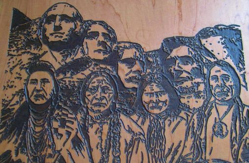 Custom Made Native American Indian Art Wood Carving - Carved Artists Version Of Mount Rushmore - Made To Order