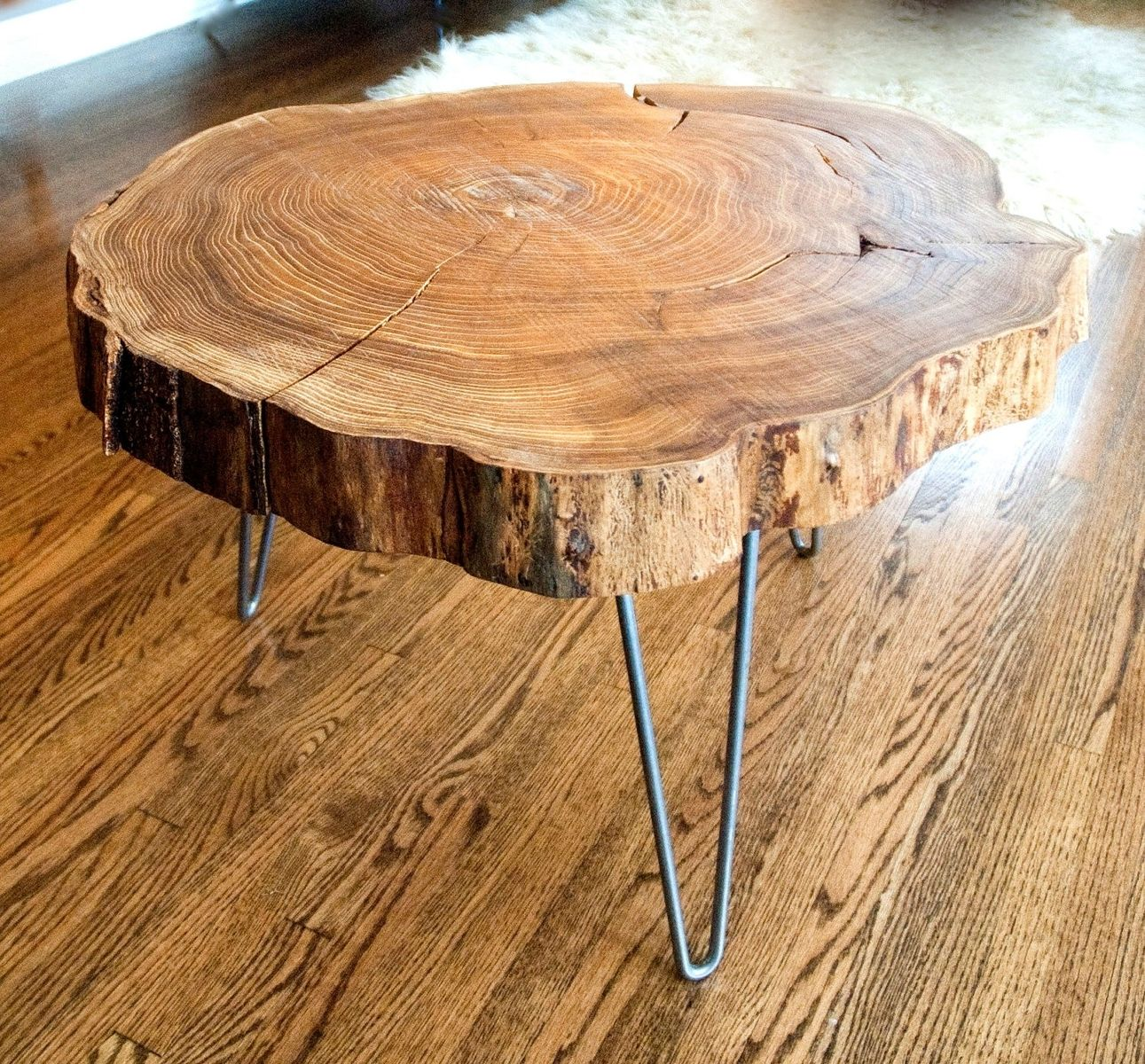 Custom natural live edge round slab side table coffee table with steel legs by norsk valley Live wood coffee table