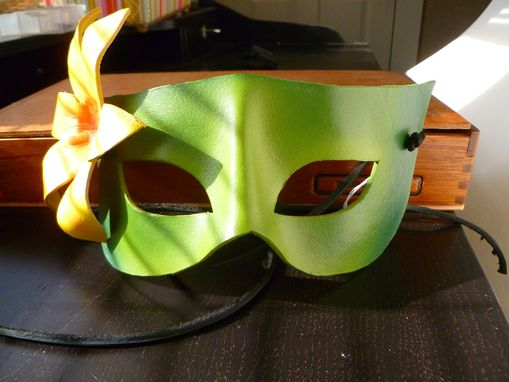 Custom Made Garden Nymph Green Handmade Leather Mask With Yellow Lily Flower