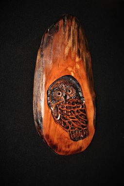 Custom Made Bird Owl Wood Carving Sculpture Wall Art