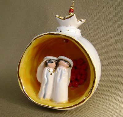 Custom Made Pomegranate Ornament With Cross And Bird In A Nest (Reserved) But Taking Orders
