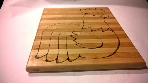 Custom Made Maple And Cherry Cutting Board With Rooster Engraving