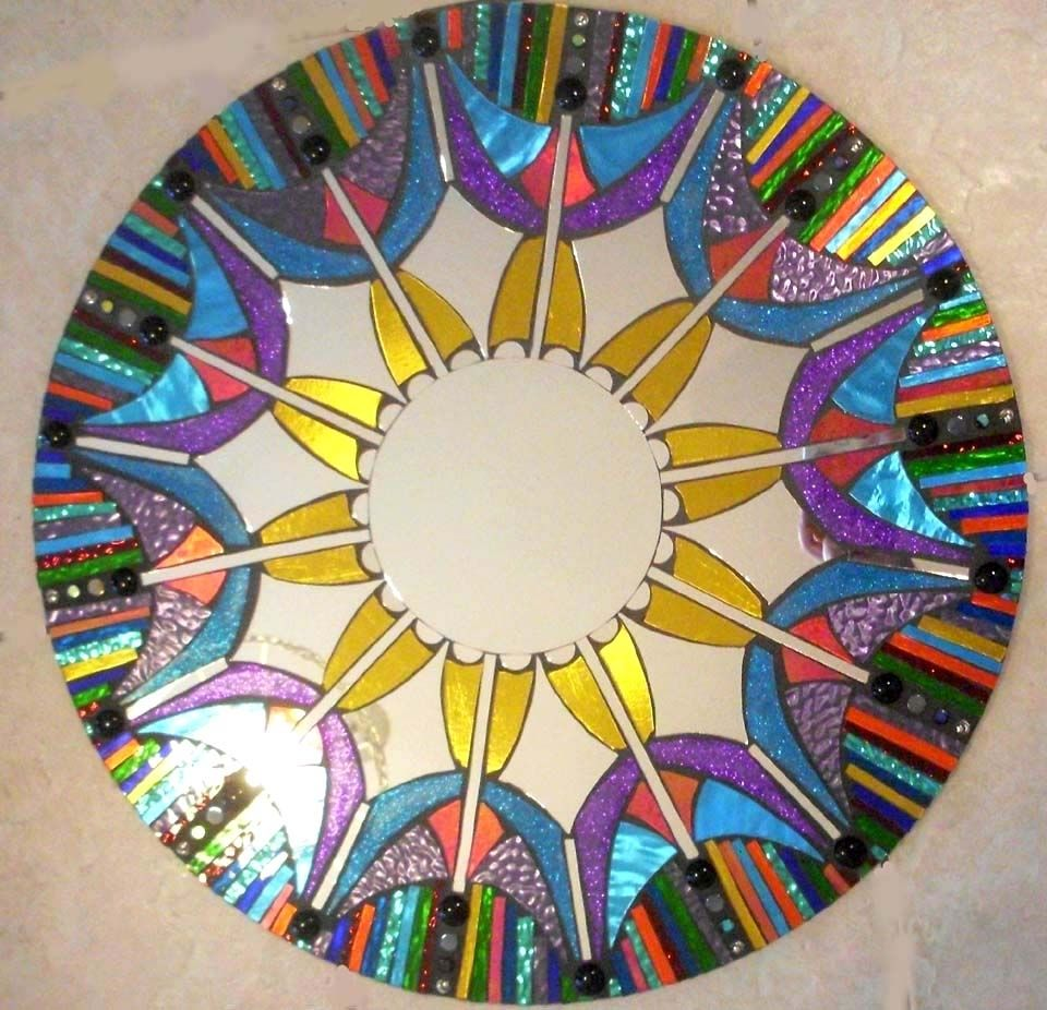 Hand Made Mosaic Mirror Colorful Stained Glass Round By
