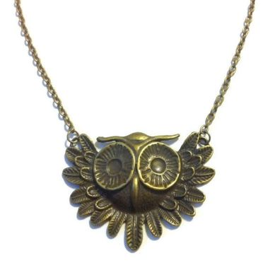 Custom Made Bronze Owl Statement Necklace