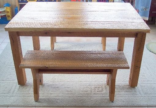 Custom Made Rustic Oak Table And Benches