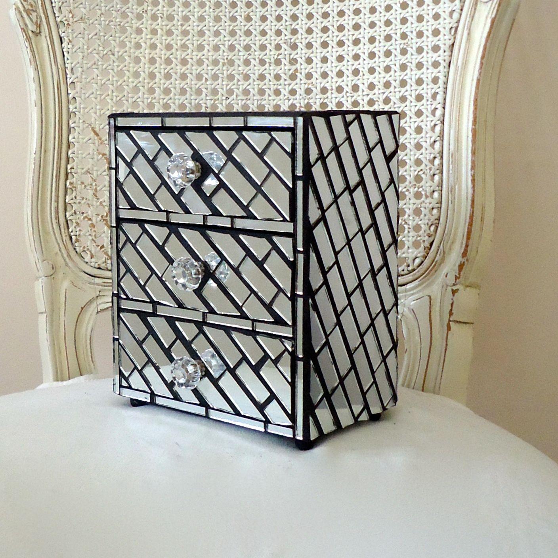 Custom Mirror Jewelry Box With Mosaic Diagonal Pattern by ...