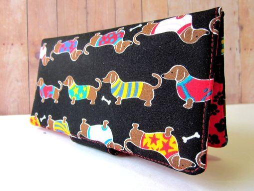 Custom Made Handmade Black Wallet Dachshunds Dogs With Sweaters