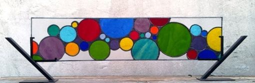 "Custom Made Stained Glass Window Panel /  ""Lively Bubbles""  (W-28)"