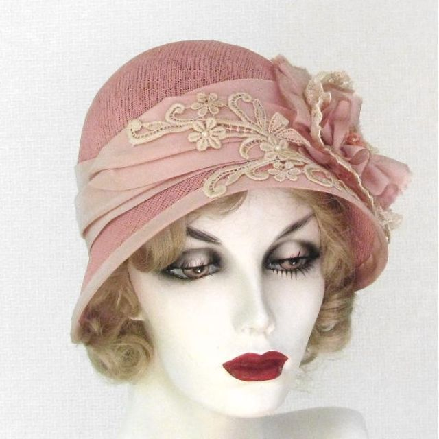Hand Made Vintage Style Shabby Chic Cloche Summer Hat by Gail s Custom Hats   080a56fbd40