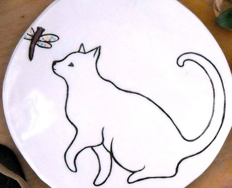 Custom Made Cat Dish - Kitty & Dragonfly Treat Plate