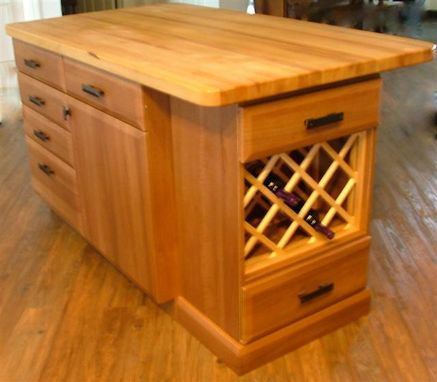 Custom Made Butcher Block Island With Floating Wine Rack