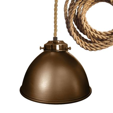 "Custom Made Factory 7"" Metal Shade Pendant Light- Ship Rope Cord"