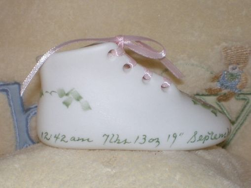 Custom Made Bisque Porcelain Baby Shoe - Girl