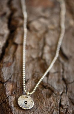Custom Made Sterling Silver - Dainty Hammered Initial Disc Necklace