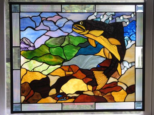 Custom Made Stained Glass Spotted Brown Trout Panel