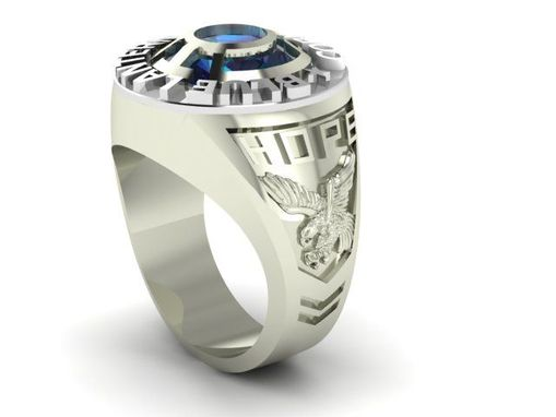 Custom Made Blue Lantern Sterling Silver And 14k Palladium Ring