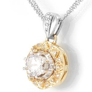 Custom Made Diamond Circle Pendant With Cz Center Stone In 14k White Gold, Ladies Pendant, Circle Pendant