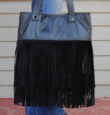 Custom Made Upcycled Leather Fringe Tote - Flapper Fringe Tote In Black Suede