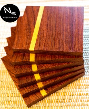 Custom Made Bubinga Hardwood Coasters 6 Pack
