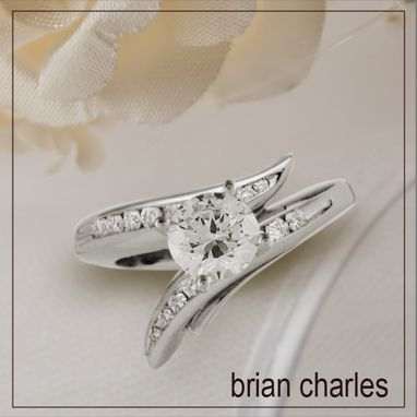 "Custom Made Modern Channel-Set Engagement Ring ""Chloris"" In 18k"