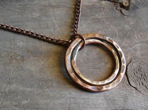 "Custom Made Two-Ring Brass And Copper Necklace ""Full Circle''"