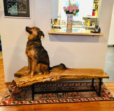 Custom Made Live Edge Hardwood Ash Bench Mid Century Modern
