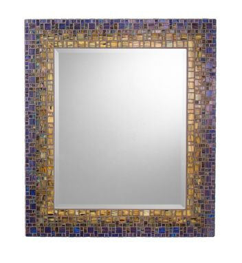 Custom Made Mosaic Wall Mirror - Deep Blue & Sage Green