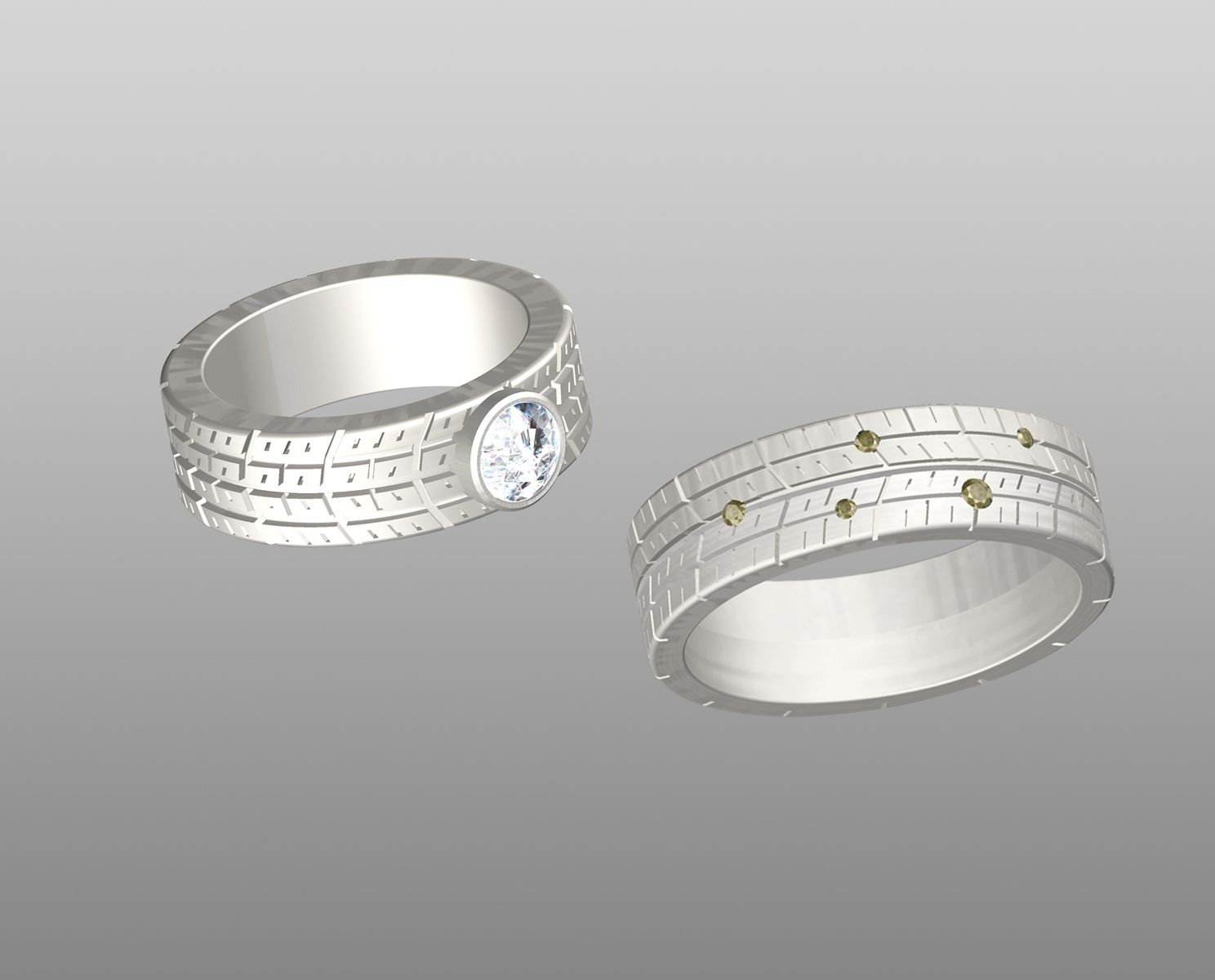 Custom Made Tire Tread Wedding Bands