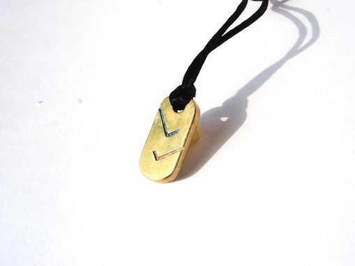 Custom Made Checkmark Pendant.  Glass Enamel On Brass