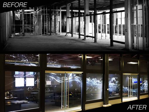 Custom Made Etched Glass Commercial Office Wall & Doors Designed By Glassarium