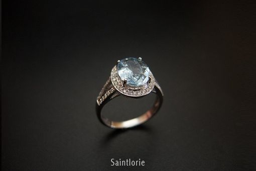 Custom Made 3.2 Carat Aquamarine Engagement Ring