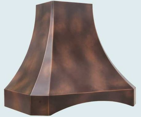Custom Made Copper Range Hood With Arched Band & Patterned Patina