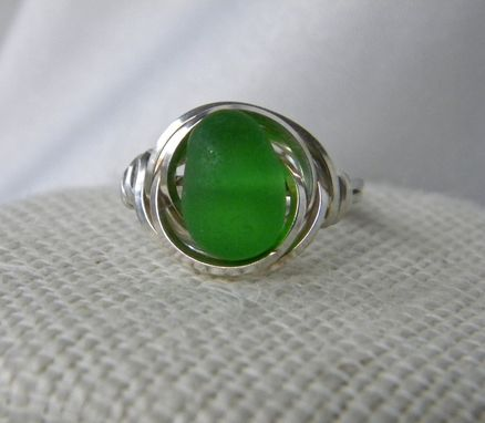 Custom Made Eye Of The Sea Silver Ring With Emerald Green Sea Glass