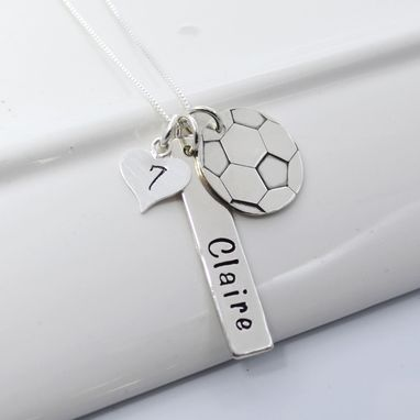 Custom Made Hand Stamped Soccer Mom Necklace Personalized With Player's Name And Number
