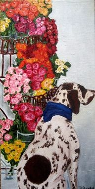 Custom Made Dog In Flower Shop Painting