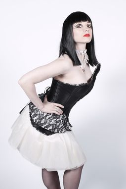 Custom Made Flow Corset- Black And White Eco Luxury, Steel Boned Corset With Lace Peplum