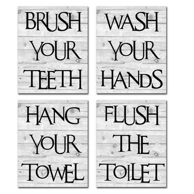Custom Made Bathroom Rules Hand Stretched Canvas Bathroom Decor