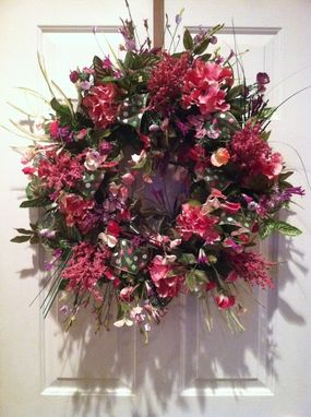 Custom Made Grapevine Wreath With Pinks And Purples